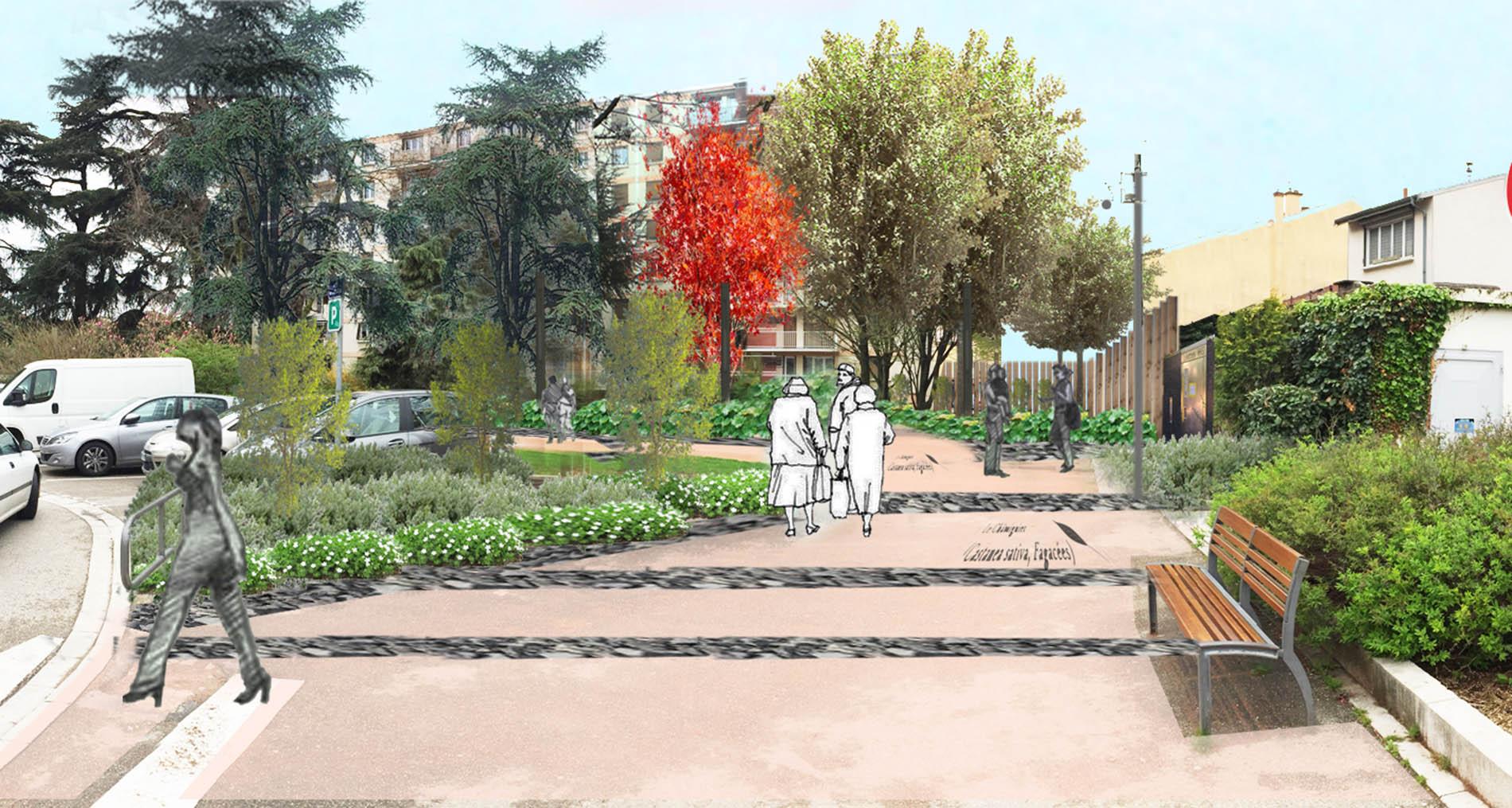 visuel 3d projet urbain requalification de jardin à Champagne Au Mont D'Or