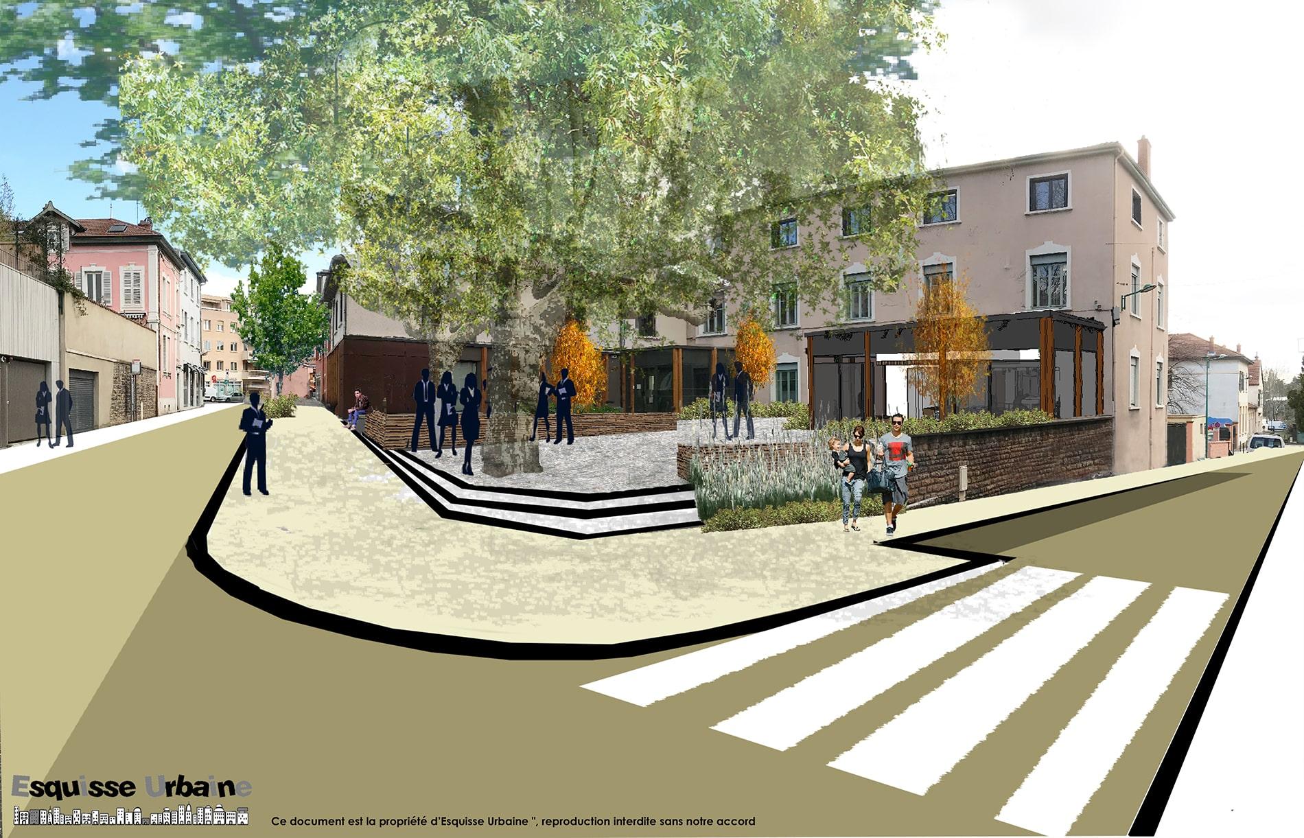 Projet d'aménagement paysager d'un square par l'agence Esquisse Urbaine, Rhône