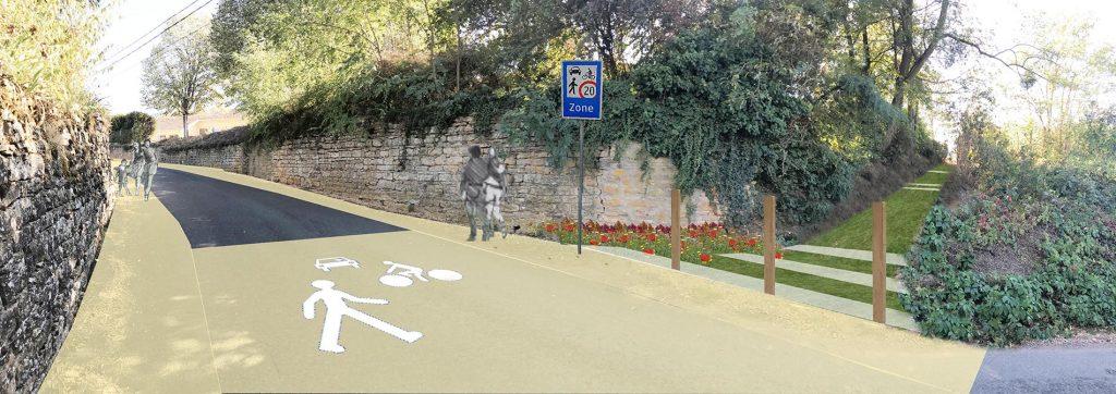Projet d'aménagement de voierie à Gleizé, conception agence Esquisse urbaine, Beaujolais