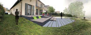 Terrasse piscine et gradins